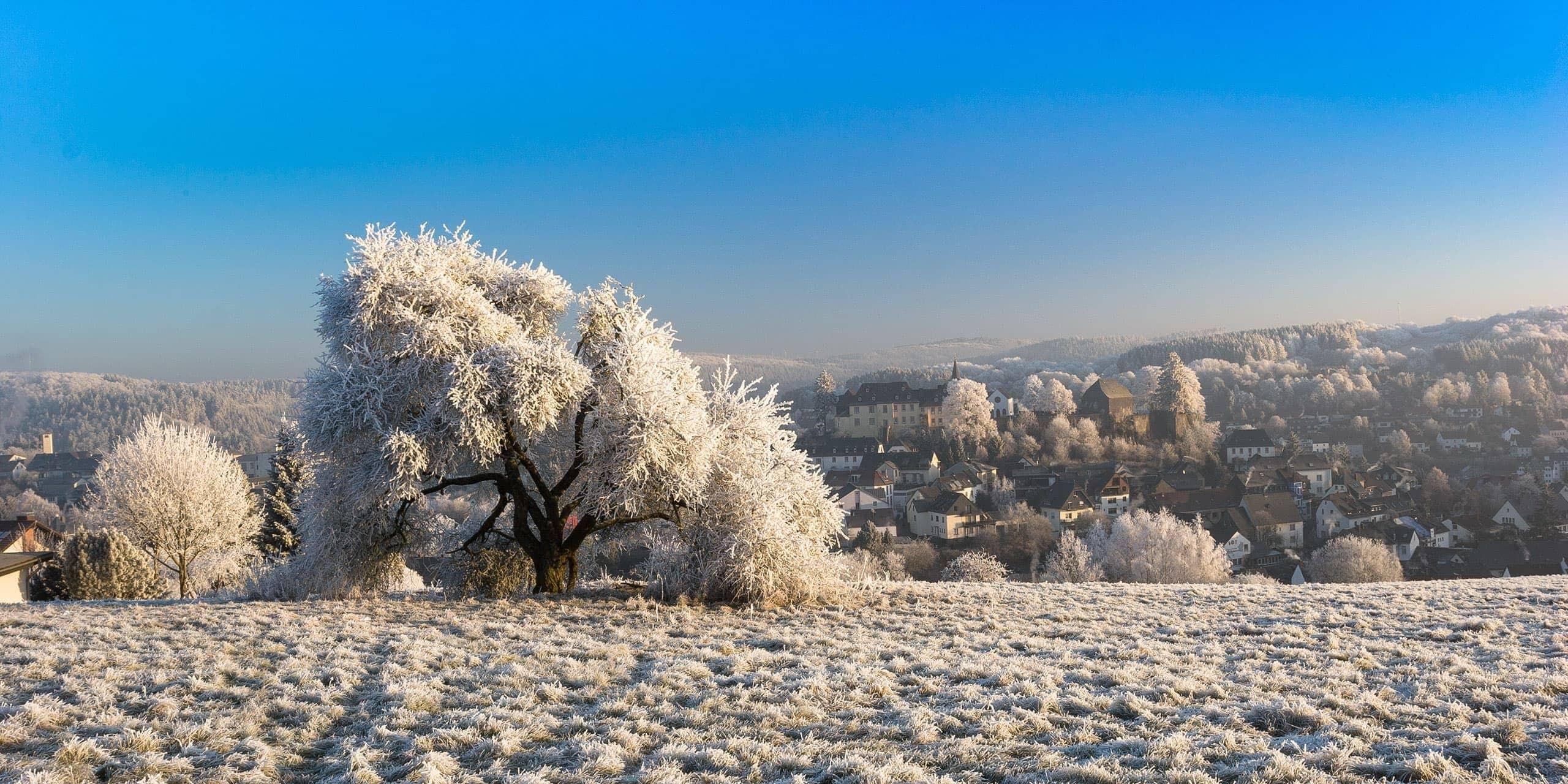 Aussicht auf Daun - Winter in der Eifel